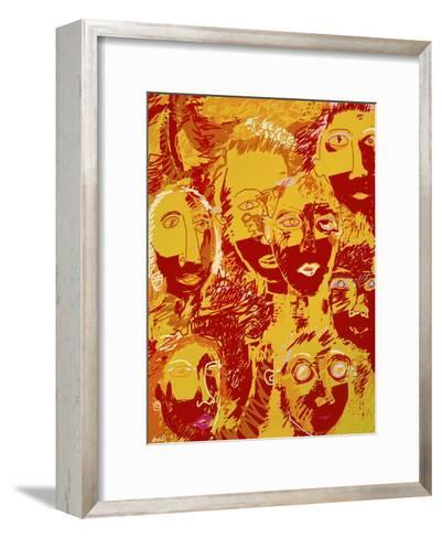 Faces: Yellow and Red-Diana Ong-Framed Art Print