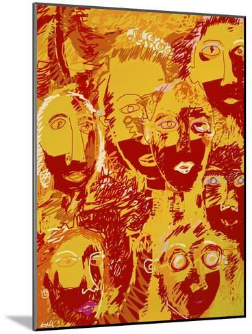Faces: Yellow and Red-Diana Ong-Mounted Giclee Print