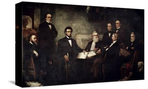 The First Reading of the Emancipation Proclamation-Francis Bicknell Carpenter-Stretched Canvas Print