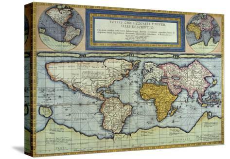World Map, Totus Orbis Cogniti Universalis-Gerard De Jode-Stretched Canvas Print