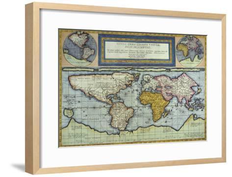 World Map, Totus Orbis Cogniti Universalis-Gerard De Jode-Framed Art Print