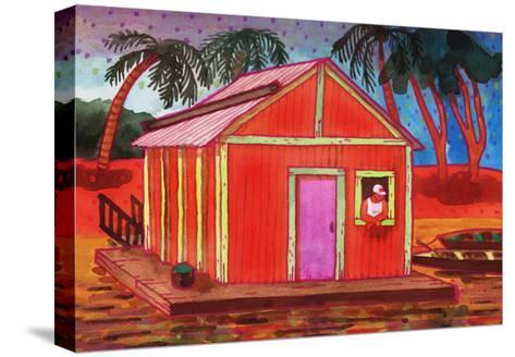 Amazon River Houseboat-John Newcomb-Stretched Canvas Print