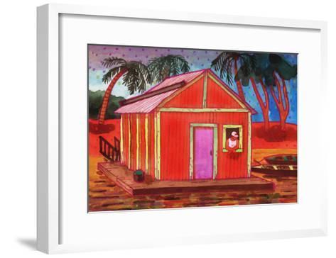 Amazon River Houseboat-John Newcomb-Framed Art Print