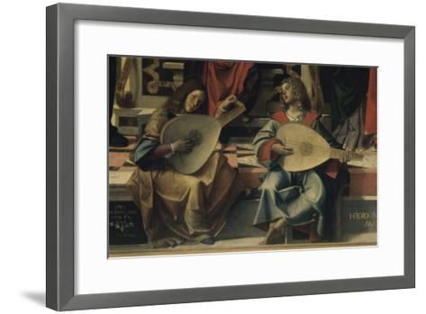 Madonna and Child with Saint Andre-Bartolomeo Montagna-Framed Art Print