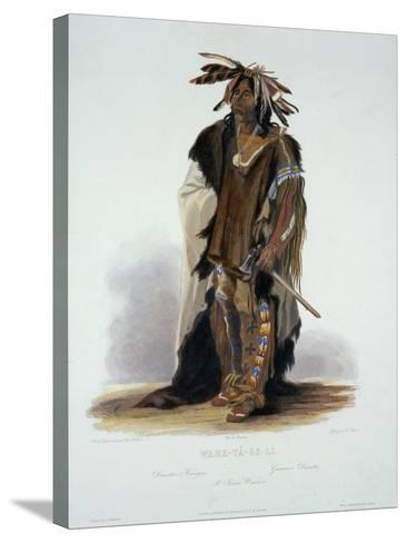 "Wahk-Ta-Ge-Li, a Sioux Warrior, Plate 8 from Volume 2 of ""Travels in the Interior of North America""-Karl Bodmer-Stretched Canvas Print"