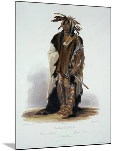 "Wahk-Ta-Ge-Li, a Sioux Warrior, Plate 8 from Volume 2 of ""Travels in the Interior of North America""-Karl Bodmer-Mounted Giclee Print"