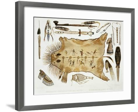 """Indian Utensils and Arms, Plate 21 from Volume 2 of """"Travels in the Interior of North America""""-Karl Bodmer-Framed Art Print"""