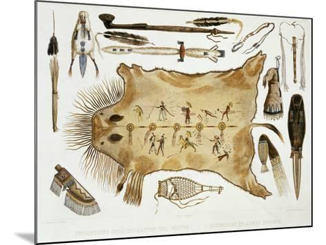 """Indian Utensils and Arms, Plate 21 from Volume 2 of """"Travels in the Interior of North America""""-Karl Bodmer-Mounted Giclee Print"""