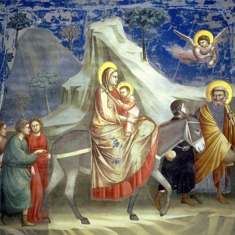 The Flight into Egypt, circa 1305-Giotto di Bondone-Stretched Canvas Print