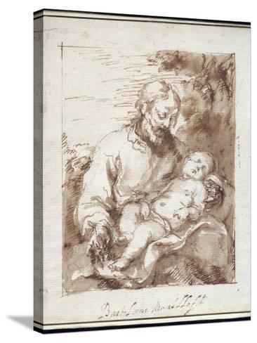 St. Joseph with the Sleeping Christ Child-Bartolome Esteban Murillo-Stretched Canvas Print