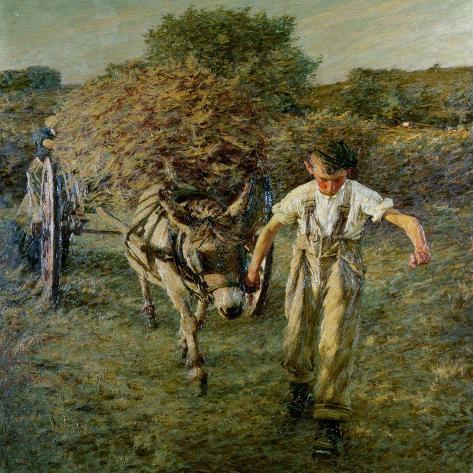 The Haywain, circa 1889-Henry Herbert La Thangue-Stretched Canvas Print
