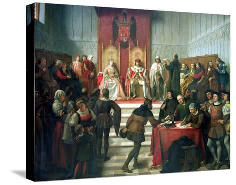 Catholic Rulers Administering Justice, 1860-Victor Manzano Y Mejorada-Stretched Canvas Print