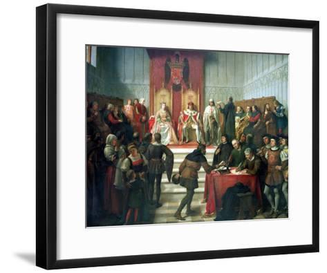Catholic Rulers Administering Justice, 1860-Victor Manzano Y Mejorada-Framed Art Print