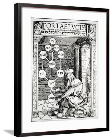 """Jewish Cabbalist Holding a Sephiroth, Copy of an Illustration from """"Portae Lucis""""--Framed Art Print"""