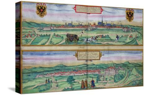 "Town Plan of Vienna and Buda, from ""Civitates Orbis Terrarum""-Joris Hoefnagel-Stretched Canvas Print"