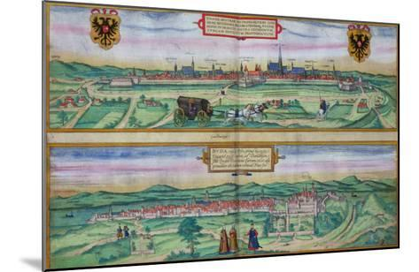 "Town Plan of Vienna and Buda, from ""Civitates Orbis Terrarum""-Joris Hoefnagel-Mounted Giclee Print"