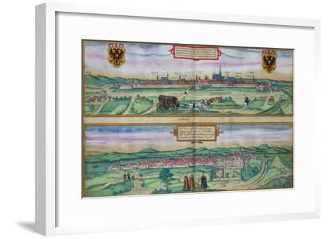 "Town Plan of Vienna and Buda, from ""Civitates Orbis Terrarum""-Joris Hoefnagel-Framed Art Print"