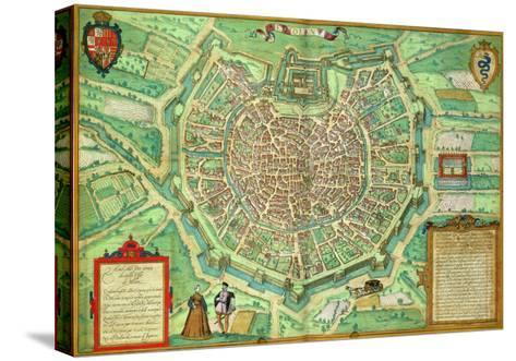 "Map of Milan, from ""Civitates Orbis Terrarum"" by Georg Braun and Frans Hogenburg, circa 1572-Joris Hoefnagel-Stretched Canvas Print"
