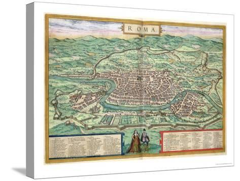 "Map of Rome, from ""Civitates Orbis Terrarum"" by Georg Braun and Frans Hogenberg, circa 1572-Joris Hoefnagel-Stretched Canvas Print"
