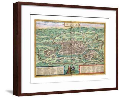 "Map of Rome, from ""Civitates Orbis Terrarum"" by Georg Braun and Frans Hogenberg, circa 1572-Joris Hoefnagel-Framed Art Print"