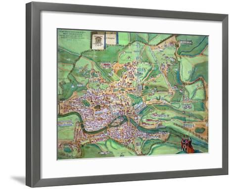 "Map of Rome, from ""Civitates Orbis Terrarum"" by Georg Braun and Frans Hogenberg, 1570-Joris Hoefnagel-Framed Art Print"