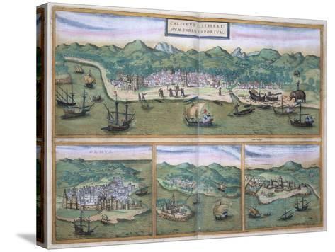 "Map of Calcutta, from ""Civitates Orbis Terrarum"" by Georg Braun and Frans Hogenberg, circa 1572-Joris Hoefnagel-Stretched Canvas Print"