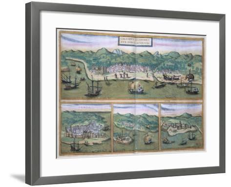 """Map of Calcutta, from """"Civitates Orbis Terrarum"""" by Georg Braun and Frans Hogenberg, circa 1572-Joris Hoefnagel-Framed Art Print"""