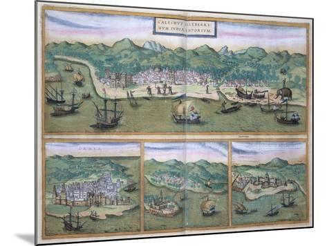 "Map of Calcutta, from ""Civitates Orbis Terrarum"" by Georg Braun and Frans Hogenberg, circa 1572-Joris Hoefnagel-Mounted Giclee Print"