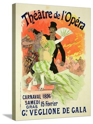 Reproduction of a Poster Advertising the 1896 Carnival at the Theatre De L'Opera-Jules Ch?ret-Stretched Canvas Print