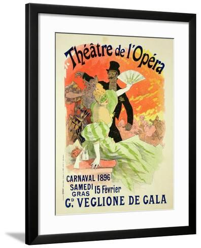 Reproduction of a Poster Advertising the 1896 Carnival at the Theatre De L'Opera-Jules Ch?ret-Framed Art Print