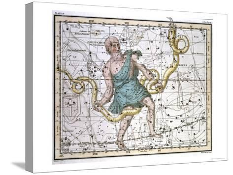 """Ophiuchus or Serpentarius, from """"A Celestial Atlas,"""" Published in 1822-A^ Jamieson-Stretched Canvas Print"""