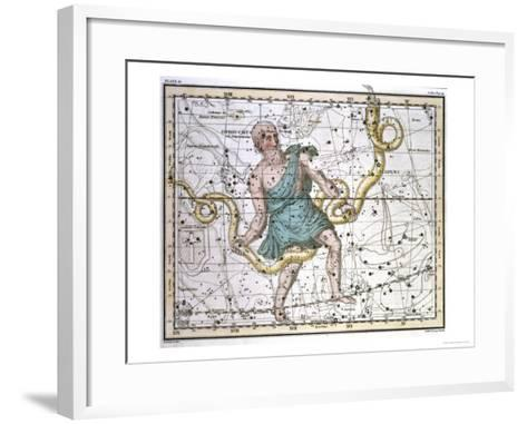 """Ophiuchus or Serpentarius, from """"A Celestial Atlas,"""" Published in 1822-A^ Jamieson-Framed Art Print"""