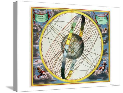 Map Charting the Orbit of the Moon Around the Earth-Andreas Cellarius-Stretched Canvas Print