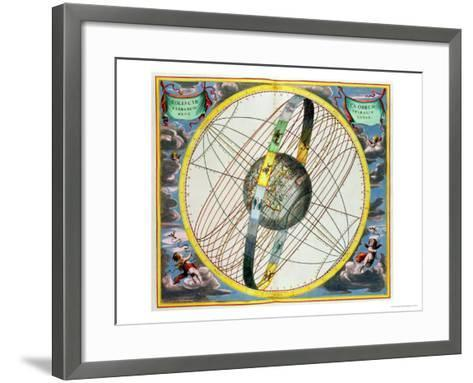 Map Charting the Orbit of the Moon Around the Earth-Andreas Cellarius-Framed Art Print