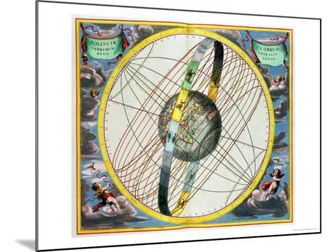 Map Charting the Orbit of the Moon Around the Earth-Andreas Cellarius-Mounted Giclee Print