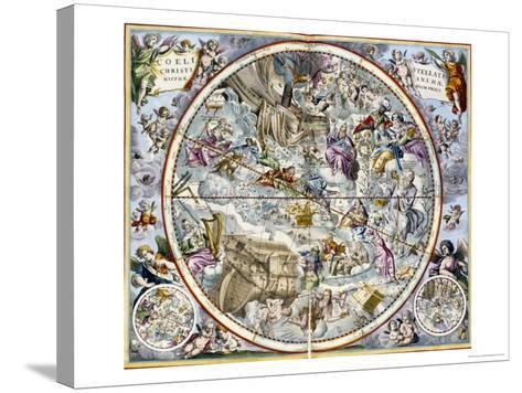 Map of the Christian Constellations as Depicted by Julius Schiller-Andreas Cellarius-Stretched Canvas Print