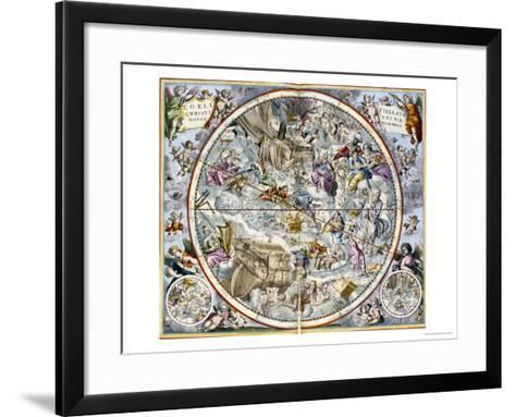 Map of the Christian Constellations as Depicted by Julius Schiller-Andreas Cellarius-Framed Art Print