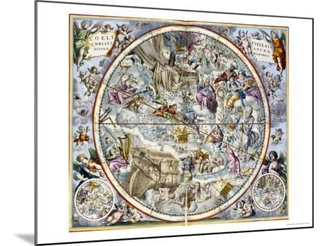 Map of the Christian Constellations as Depicted by Julius Schiller-Andreas Cellarius-Mounted Giclee Print