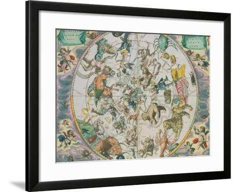 Celestial Planisphere Showing the Signs of the Zodiac-Andreas Cellarius-Framed Art Print