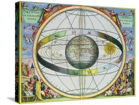 """Map of Christian Constellations, from """"The Celestial Atlas, or the Harmony of the Universe""""-Andreas Cellarius-Stretched Canvas Print"""