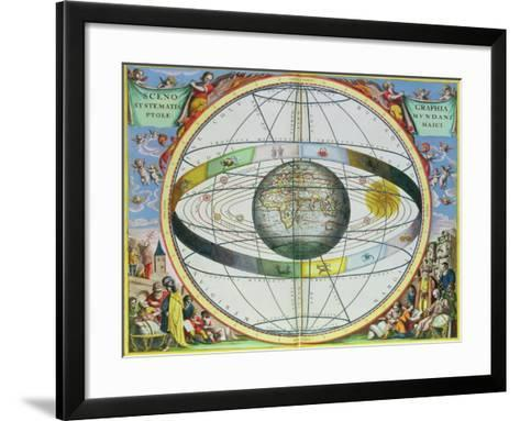"""Map of Christian Constellations, from """"The Celestial Atlas, or the Harmony of the Universe""""-Andreas Cellarius-Framed Art Print"""