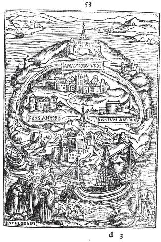 Map of the Island of Utopia, Book Frontispiece, 1563--Stretched Canvas Print