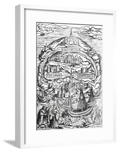 Map of the Island of Utopia, Book Frontispiece, 1563--Framed Art Print