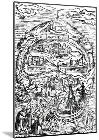 Map of the Island of Utopia, Book Frontispiece, 1563--Mounted Giclee Print