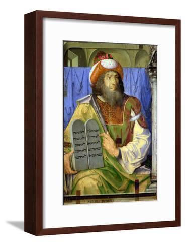 Moses with the Ten Commandments, from a Series of Portraits of Illustrious Men (Detail)-Joos van Gent-Framed Art Print