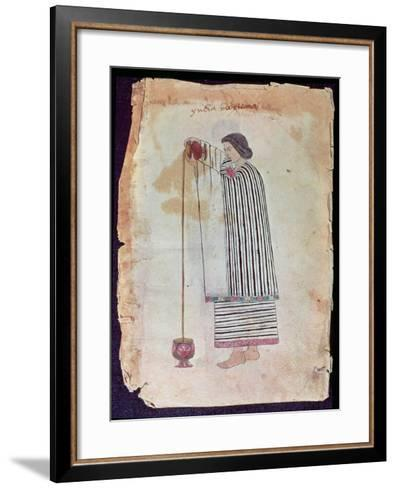 Mexican Indian Preparing Chocolate, from the Codex Tuleda, 1553--Framed Art Print