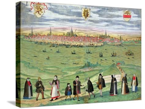 "Map of Rostock, from ""Civitates Orbis Terrarum"" by Georg Braun and Frans Hogenberg circa 1572-1617-Joris Hoefnagel-Stretched Canvas Print"