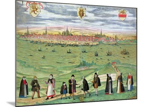 "Map of Rostock, from ""Civitates Orbis Terrarum"" by Georg Braun and Frans Hogenberg circa 1572-1617-Joris Hoefnagel-Mounted Giclee Print"