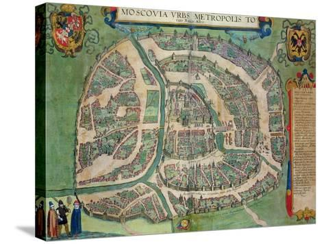 """Map of Moscow, from """"Civitates Orbis Terrarum"""" by Georg Braun and Frans Hogenberg circa 1572-1617-Joris Hoefnagel-Stretched Canvas Print"""