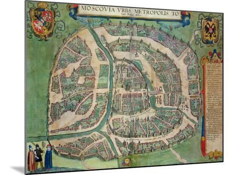 "Map of Moscow, from ""Civitates Orbis Terrarum"" by Georg Braun and Frans Hogenberg circa 1572-1617-Joris Hoefnagel-Mounted Giclee Print"